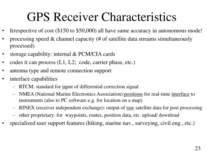 GPS Receiver Characteristics