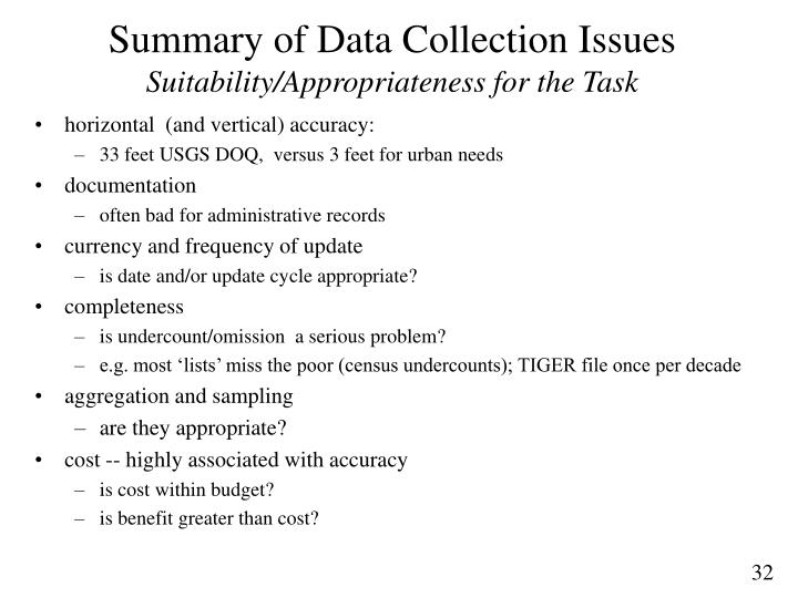Summary of Data Collection Issues