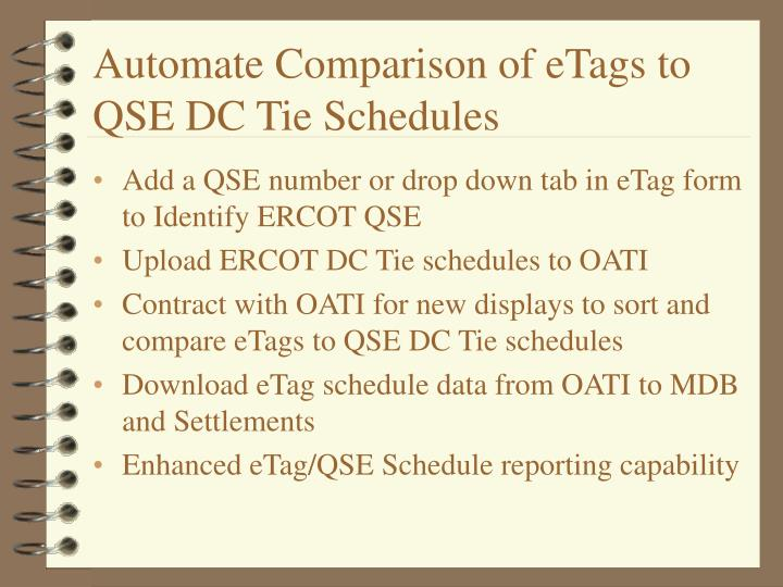 Automate comparison of etags to qse dc tie schedules