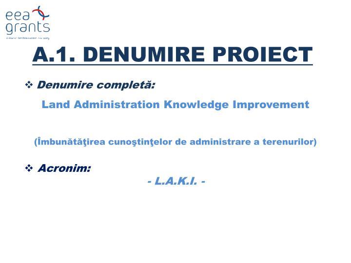 A.1. DENUMIRE PROIECT