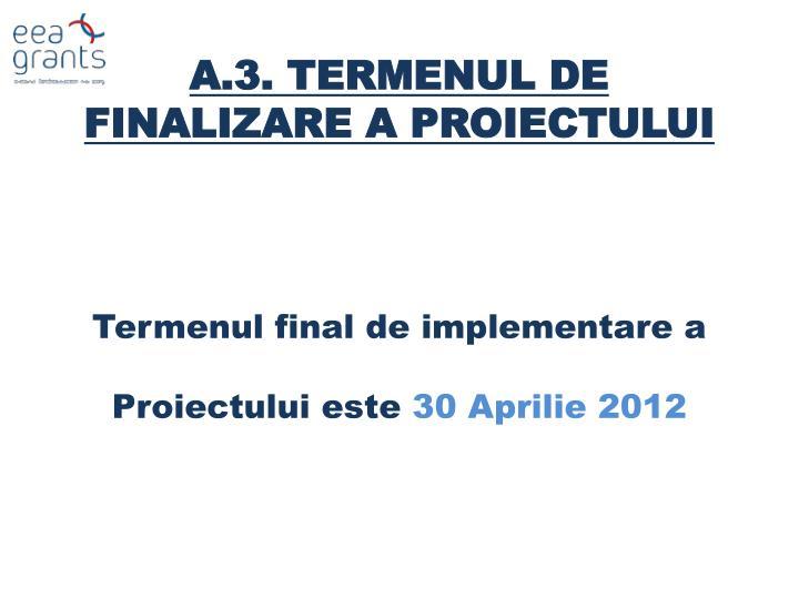 A.3. TERMENUL DE FINALIZARE A PROIECTULUI