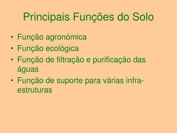 Principais Funções do Solo