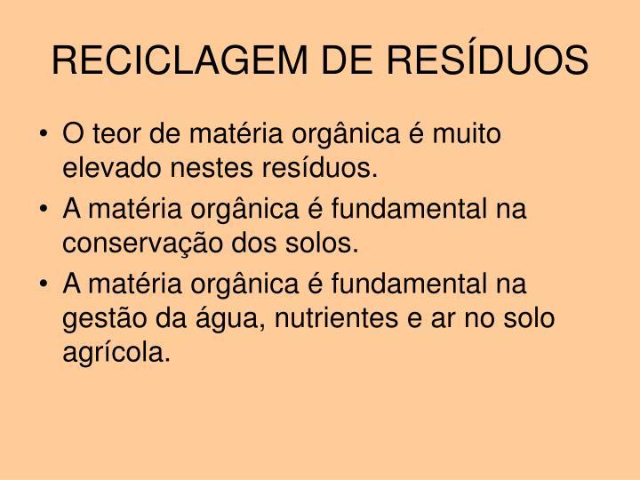 RECICLAGEM DE RESÍDUOS