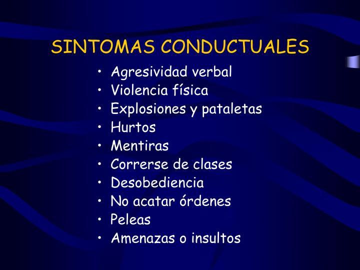SINTOMAS CONDUCTUALES