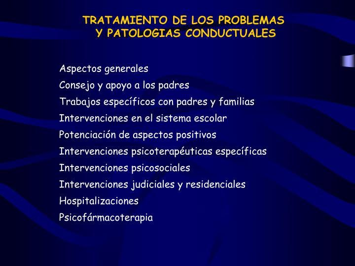 TRATAMIENTO DE LOS PROBLEMAS