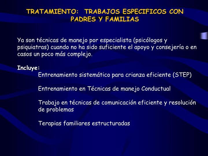 TRATAMIENTO:  TRABAJOS ESPECIFICOS CON