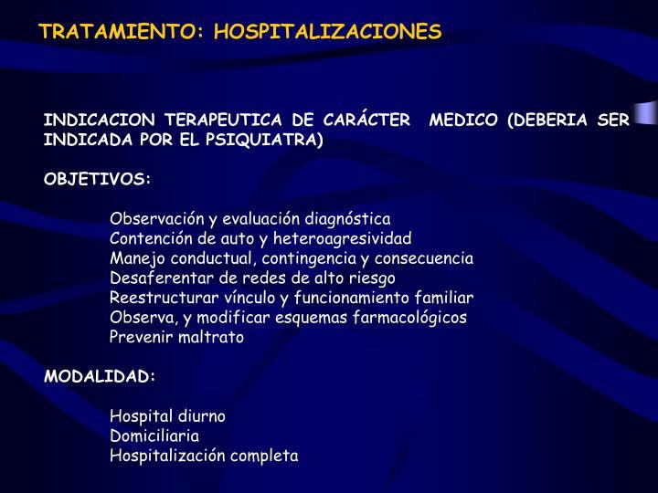 TRATAMIENTO: HOSPITALIZACIONES