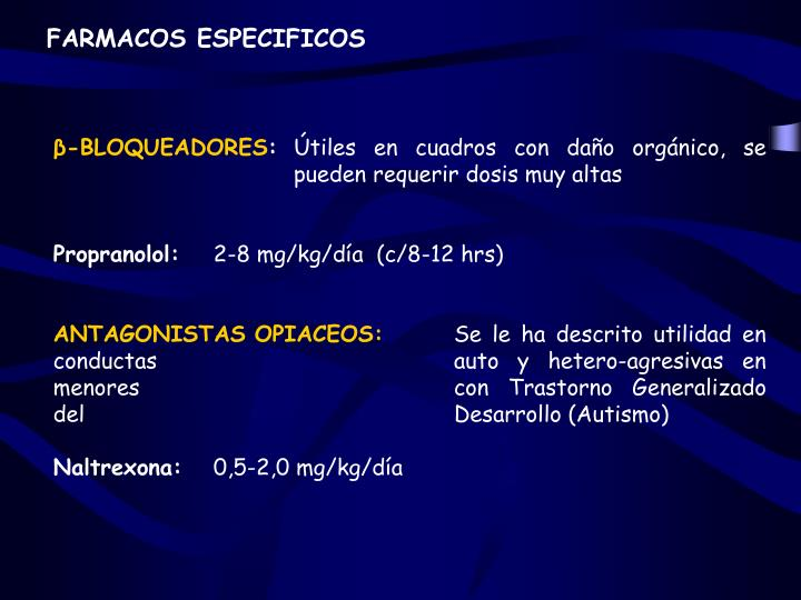 FARMACOS ESPECIFICOS