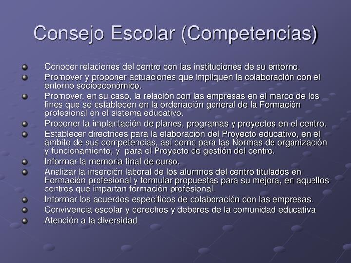 Consejo Escolar (Competencias)