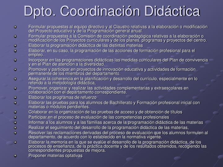 Dpto. Coordinación Didáctica