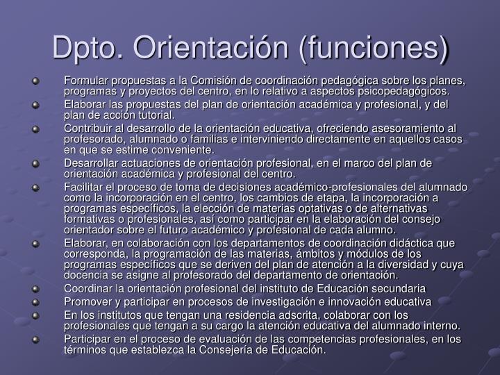 Dpto. Orientación (funciones)