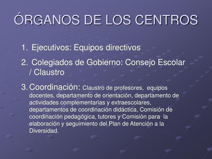 ÓRGANOS DE LOS CENTROS