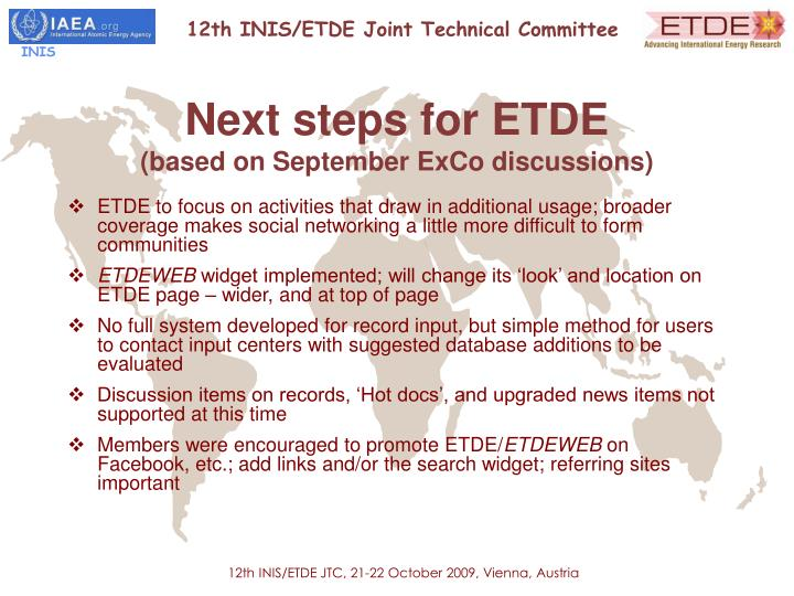 Next steps for ETDE