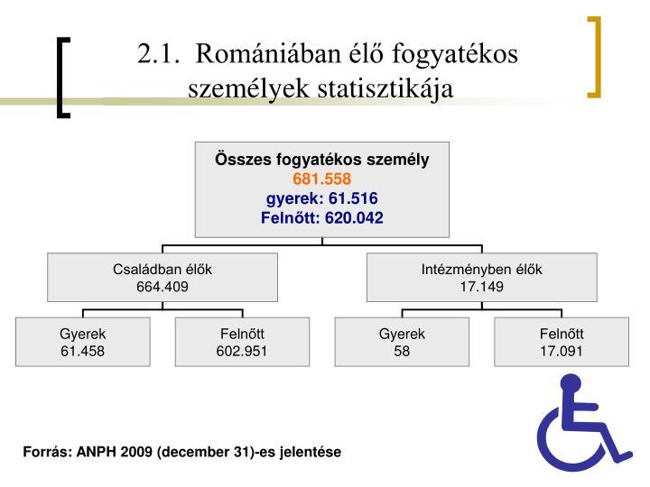 2.1.  Romániában élő fogyatékos személyek statisztikája