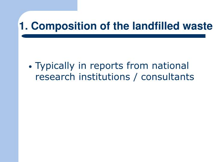 1. Composition of the landfilled waste