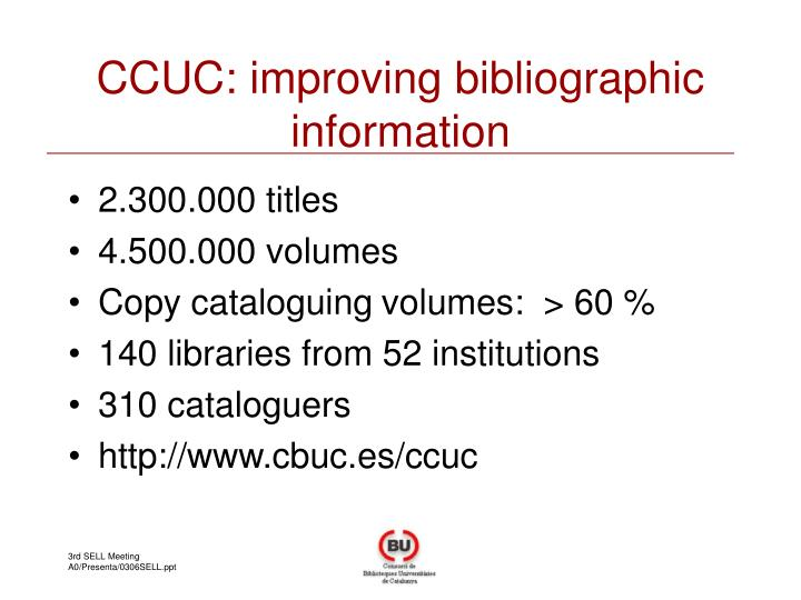 CCUC: improving bibliographic information