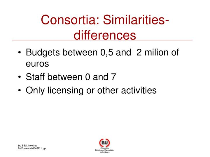 Consortia: Similarities-differences