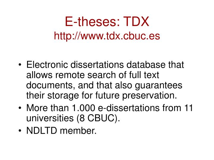 E-theses: TDX