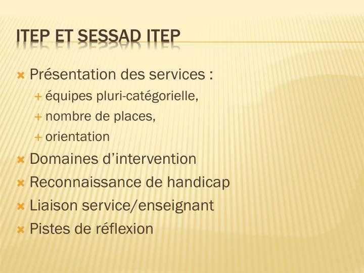 Présentation des services: