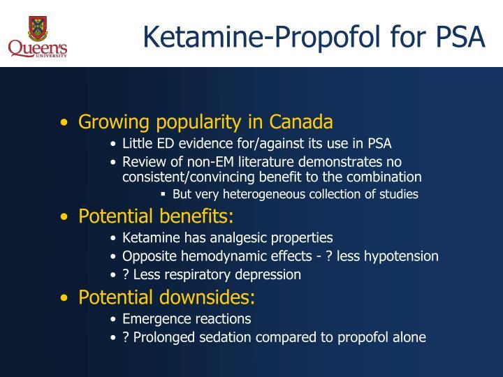 Ketamine-Propofol for PSA