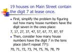 19 houses on main street contain the digit 7 at lease once