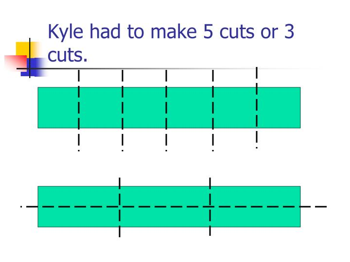 Kyle had to make 5 cuts or 3 cuts.