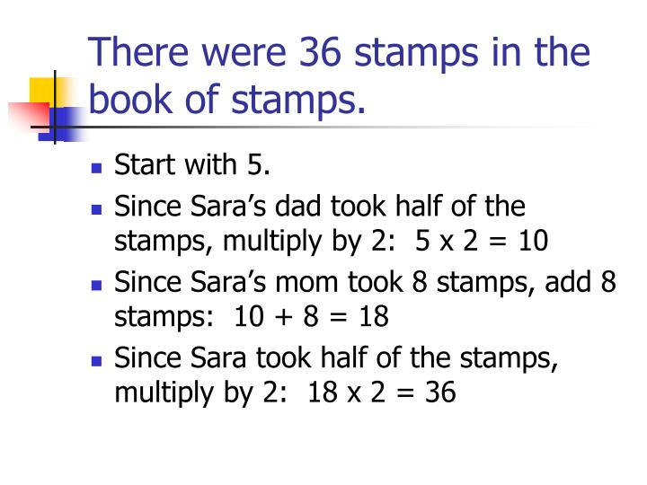 There were 36 stamps in the book of stamps.