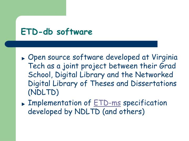 ETD-db software