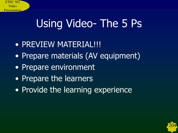 Using Video- The 5 Ps