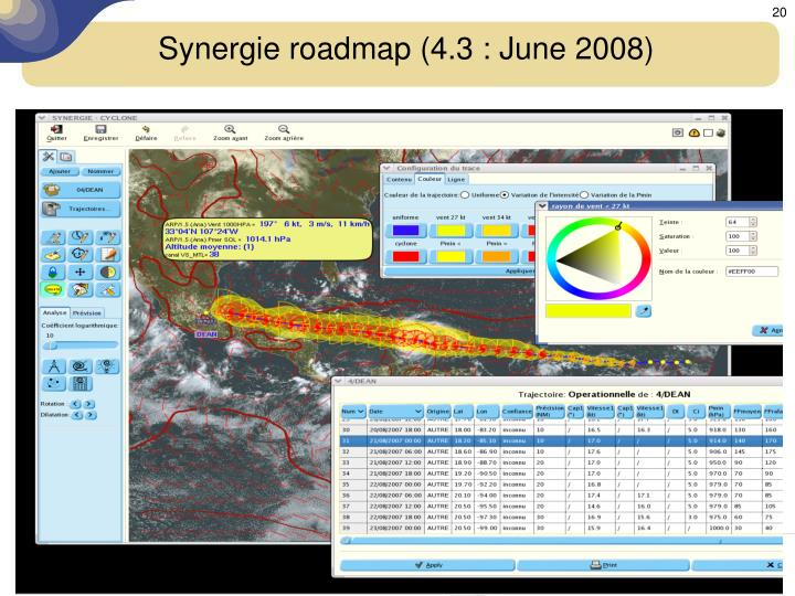 Synergie roadmap (4.3 : June 2008)