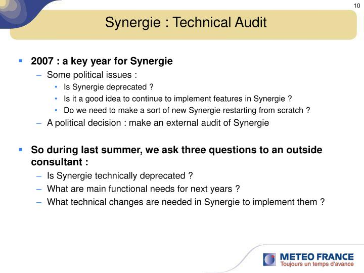 Synergie : Technical Audit