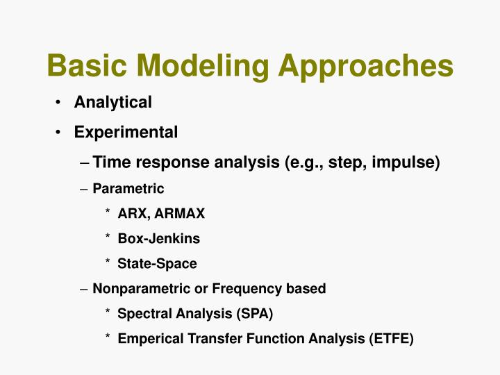Basic Modeling Approaches