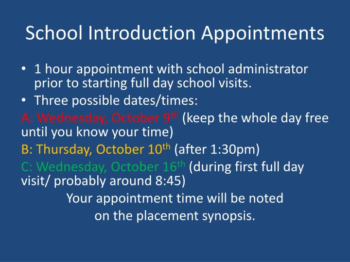 School Introduction Appointments