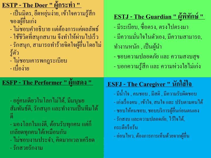 """ESTP - The Doer """""""