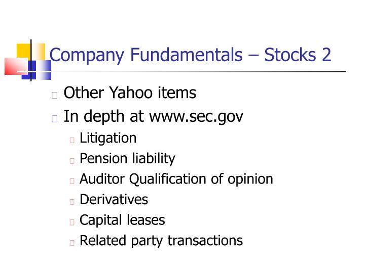 Company Fundamentals – Stocks 2