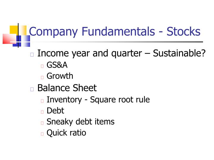 Company Fundamentals - Stocks