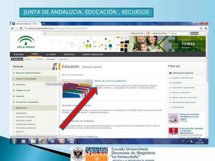 JUNTA DE ANDALUCIA. EDUCACIÓN , RECURSOS