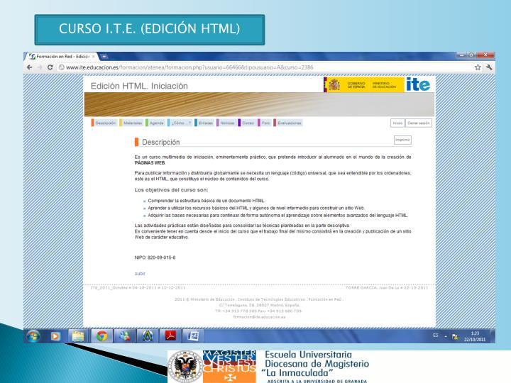 CURSO I.T.E. (EDICIÓN HTML)