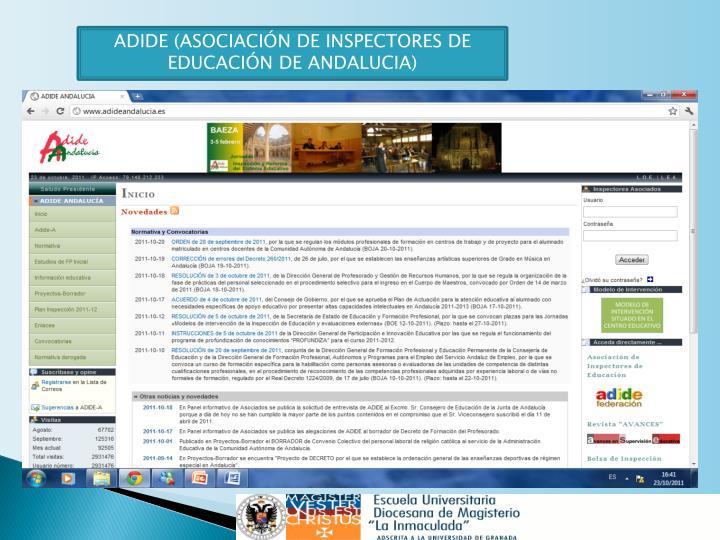 ADIDE (ASOCIACIÓN DE INSPECTORES DE EDUCACIÓN DE ANDALUCIA)