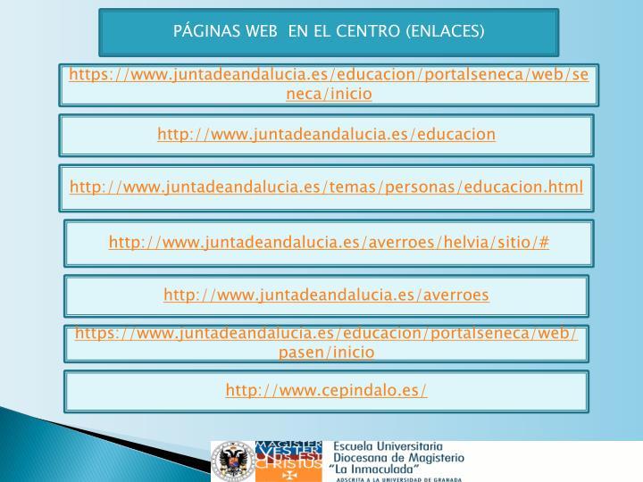 PÁGINAS WEB  EN EL CENTRO (ENLACES)
