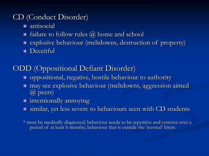 CD (Conduct Disorder)