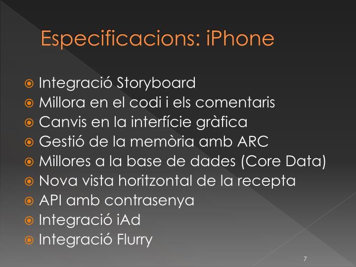 Especificacions: