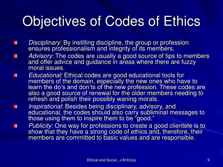 Objectives of Codes of Ethics