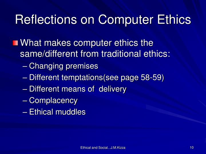 Reflections on Computer Ethics