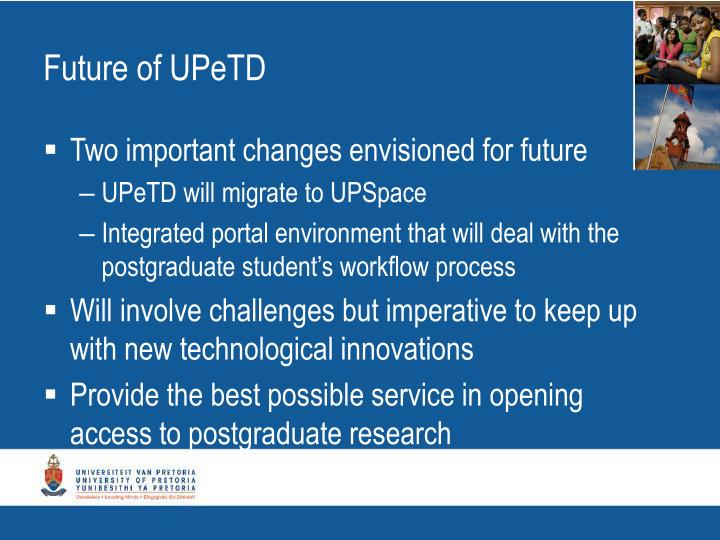 Future of UPeTD