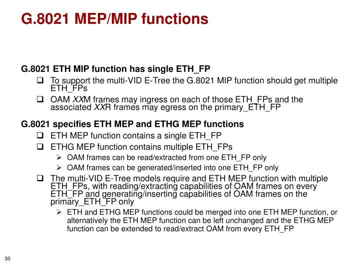 G.8021 MEP/MIP functions