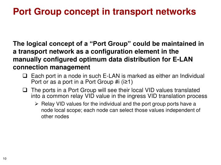 Port Group concept in transport networks