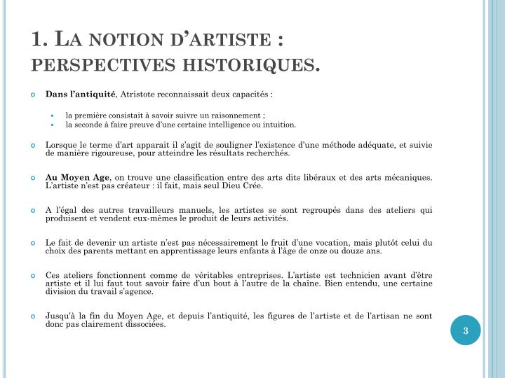 1. La notion d'artiste: perspectives historiques.