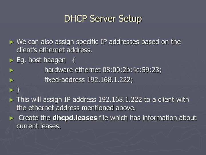 DHCP Server Setup