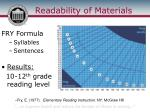readability of materials